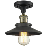 Railroad 1 Light 7 inch Black and Brushed Brass Semi-Flush Mount Ceiling Light