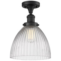 Innovations Lighting 517-1CH-BK-G222-LED Seneca Falls LED 10 inch Matte Black Semi-Flush Mount Ceiling Light Franklin Restoration