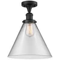 Innovations Lighting 517-1CH-BK-G42-L-LED X-Large Cone LED 12 inch Matte Black Semi-Flush Mount Ceiling Light Franklin Restoration