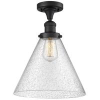 Innovations Lighting 517-1CH-BK-G44-L-LED X-Large Cone LED 12 inch Matte Black Semi-Flush Mount Ceiling Light Franklin Restoration