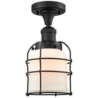 Innovations Lighting 517-1CH-BK-G51-CE-LED Small Bell Cage LED 5 inch Matte Black Semi-Flush Mount Ceiling Light Franklin Restoration