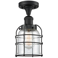 Innovations Lighting 517-1CH-BK-G52-CE-LED Small Bell Cage LED 5 inch Matte Black Semi-Flush Mount Ceiling Light Franklin Restoration