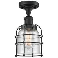 Innovations Lighting 517-1CH-BK-G54-CE-LED Small Bell Cage LED 5 inch Matte Black Semi-Flush Mount Ceiling Light Franklin Restoration