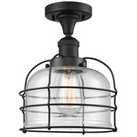 Innovations Lighting 517-1CH-BK-G74-CE Large Bell Cage 1 Light 8 inch Matte Black Semi-Flush Mount Ceiling Light Franklin Restoration