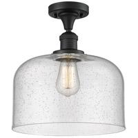 Innovations Lighting 517-1CH-BK-G74-L-LED X-Large Bell LED 12 inch Matte Black Semi-Flush Mount Ceiling Light Franklin Restoration