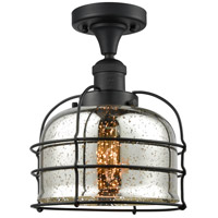 Innovations Lighting 517-1CH-BK-G78-CE Large Bell Cage 1 Light 8 inch Matte Black Semi-Flush Mount Ceiling Light Franklin Restoration