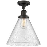 Innovations Lighting 517-1CH-OB-G44-L-LED X-Large Cone LED 12 inch Oil Rubbed Bronze Semi-Flush Mount Ceiling Light Franklin Restoration