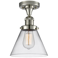 Innovations Lighting 517-1CH-PN-G42-LED Large Cone LED 8 inch Polished Nickel Semi-Flush Mount Ceiling Light