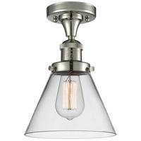 Innovations Lighting 517-1CH-PN-G42-LED Large Cone LED 8 inch Polished Nickel Semi-Flush Mount Ceiling Light, Franklin Restoration