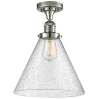 Innovations Lighting 517-1CH-PN-G44-L-LED X-Large Cone LED 12 inch Polished Nickel Semi-Flush Mount Ceiling Light, Franklin Restoration
