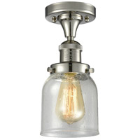 Innovations Lighting 517-1CH-PN-G54-LED Small Bell LED 5 inch Polished Nickel Semi-Flush Mount Ceiling Light, Franklin Restoration