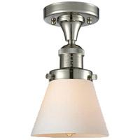 Innovations Lighting 517-1CH-PN-G61-LED Small Cone LED 7 inch Polished Nickel Semi-Flush Mount Ceiling Light, Franklin Restoration