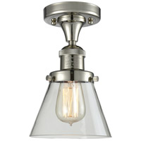 Innovations Lighting 517-1CH-PN-G62-LED Small Cone LED 7 inch Polished Nickel Semi-Flush Mount Ceiling Light, Franklin Restoration