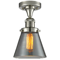 Innovations Lighting 517-1CH-PN-G63-LED Small Cone LED 7 inch Polished Nickel Semi-Flush Mount Ceiling Light