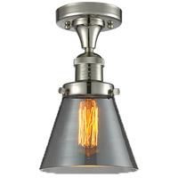Innovations Lighting 517-1CH-PN-G63-LED Small Cone LED 7 inch Polished Nickel Semi-Flush Mount Ceiling Light, Franklin Restoration