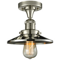 Innovations Lighting 517-1CH-PN-M1 Railroad 1 Light 7 inch Polished Nickel Semi-Flush Mount Ceiling Light, Franklin Restoration