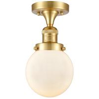 Innovations Lighting 517-1CH-SG-G201-6-LED Beacon LED 6 inch Satin Gold Semi-Flush Mount Ceiling Light