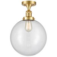 Innovations Lighting 517-1CH-SG-G202-12-LED XX-Large Beacon LED 12 inch Satin Gold Semi-Flush Mount Ceiling Light, Franklin Restoration