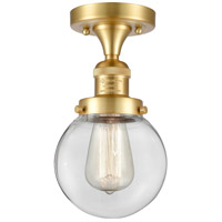 Innovations Lighting 517-1CH-SG-G202-6 Beacon 1 Light 6 inch Satin Gold Semi-Flush Mount Ceiling Light, Franklin Restoration