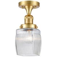 Innovations Lighting 517-1CH-SG-G302 Colton 1 Light 6 inch Satin Gold Semi-Flush Mount Ceiling Light, Franklin Restoration
