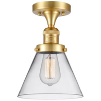 Innovations Lighting 517-1CH-SG-G42 Large Cone 1 Light 8 inch Satin Gold Semi-Flush Mount Ceiling Light, Franklin Restoration