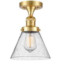 Innovations Lighting 517-1CH-SG-G44 Large Cone 1 Light 8 inch Satin Gold Semi-Flush Mount Ceiling Light, Franklin Restoration
