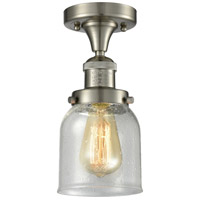 Innovations Lighting 517-1CH-SN-G54-LED Small Bell LED 5 inch Satin Nickel Semi-Flush Mount Ceiling Light, Franklin Restoration