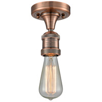 Innovations Lighting 517NH-1C-AC-LED Bare Bulb LED 5 inch Antique Copper Semi-Flush Mount Ceiling Light