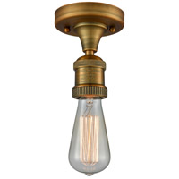 Innovations Lighting 517NH-1C-BB Bare Bulb 1 Light 5 inch Brushed Brass Semi-Flush Mount Ceiling Light