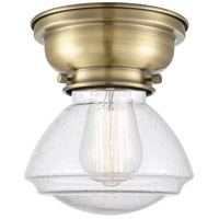 Innovations Lighting 623-1F-AB-G324 Aditi Olean 1 Light 7 inch Antique Brass Flush Mount Ceiling Light in Incandescent, Seedy Glass, Aditi photo thumbnail