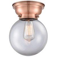 Innovations Lighting 623-1F-AC-G202-8 Aditi Large Beacon 1 Light 8 inch Antique Copper Flush Mount Ceiling Light in Clear Glass, Aditi photo thumbnail