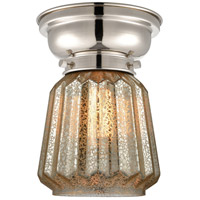 Innovations Lighting 623-1F-PN-G146-LED Aditi Chatham LED 6 inch Polished Nickel Flush Mount Ceiling Light in Mercury Glass, Aditi photo thumbnail