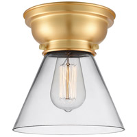 Innovations Lighting 623-1F-SG-G42-LED Aditi Large Cone LED 8 inch Satin Gold Flush Mount Ceiling Light in Clear Glass, Aditi photo thumbnail