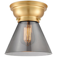 Innovations Lighting 623-1F-SG-G43-LED Aditi Large Cone LED 8 inch Satin Gold Flush Mount Ceiling Light in Plated Smoke Glass, Aditi photo thumbnail