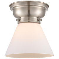 Innovations Lighting 623-1F-SN-G41 Aditi Large Cone 1 Light 8 inch Brushed Satin Nickel Flush Mount Ceiling Light in Matte White Glass, Aditi photo thumbnail