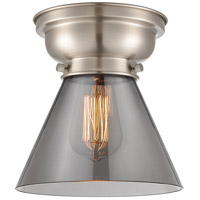 Innovations Lighting 623-1F-SN-G43-LED Aditi Large Cone LED 8 inch Brushed Satin Nickel Flush Mount Ceiling Light in Plated Smoke Glass, Aditi photo thumbnail