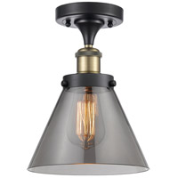 Innovations Lighting 916-1C-BAB-G43-LED Large Cone LED 8 inch Black Antique Brass Semi-Flush Mount Ceiling Light