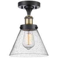 Innovations Lighting 916-1C-BAB-G44-LED Large Cone LED 8 inch Black Antique Brass Semi-Flush Mount Ceiling Light