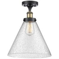 Innovations Lighting 916-1C-BAB-G44-L-LED X-Large Cone LED 8 inch Black Antique Brass Semi-Flush Mount Ceiling Light