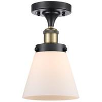 Innovations Lighting 916-1C-BAB-G61-LED Small Cone LED 6 inch Black Antique Brass Semi-Flush Mount Ceiling Light
