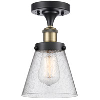 Innovations Lighting 916-1C-BAB-G64-LED Small Cone LED 6 inch Black Antique Brass Semi-Flush Mount Ceiling Light