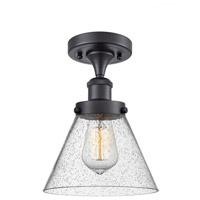 Innovations Lighting 916-1C-BK-G44-LED Large Cone LED 8 inch Matte Black Semi-Flush Mount Ceiling Light Ballston