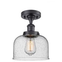 Innovations Lighting 916-1C-BK-G74-LED Large Bell LED 8 inch Matte Black Semi-Flush Mount Ceiling Light Ballston