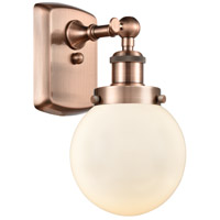 Innovations Lighting 916-1W-AC-G201-6-LED Beacon LED 6 inch Antique Copper Sconce Wall Light