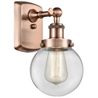 Innovations Lighting 916-1W-AC-G202-6-LED Beacon LED 6 inch Antique Copper Sconce Wall Light