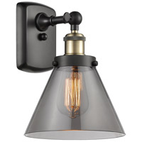 Innovations Lighting 916-1W-BAB-G43-LED Large Cone LED 8 inch Black Antique Brass Sconce Wall Light