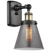 Innovations Lighting 916-1W-BAB-G63 Small Cone 1 Light 6 inch Black Antique Brass Sconce Wall Light