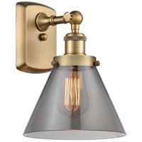 Innovations Lighting 916-1W-BB-G43 Large Cone 1 Light 8 inch Brushed Brass Sconce Wall Light