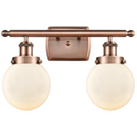 Innovations Lighting 916-2W-AC-G201-6-LED Beacon LED 16 inch Antique Copper Bath Vanity Light Wall Light