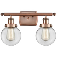 Innovations Lighting 916-2W-AC-G202-6-LED Beacon LED 16 inch Antique Copper Bath Vanity Light Wall Light